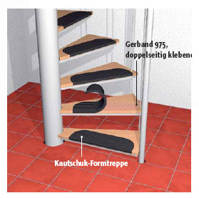 Montage von Formtreppen, Treppenbelägen, Hartkernsockelleisten und Sockelausbildung
