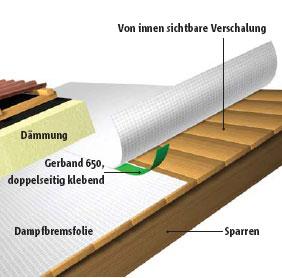 Luftdichte Verklebung von Überlappungen bei einer Aufsparrendämmung