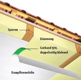 Luftdichte Verklebung von Überlappungen auf einer festen Unterlage